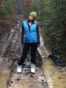 Notice the mud. And my lack of enthusiasm. Also, the lack of gloves and scarf because it started to get pretty warm.